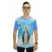 Camiseta Religiosa Masculina Nossa Senhora das Graças Azul - Frui Vita REF: CF-128