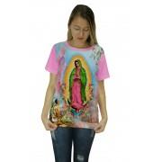 Camiseta Religiosa Feminina Nossa Senhora de Guadalupe Rosa - Frui Vita REF: CF-039