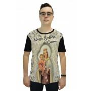 Camiseta Religiosa Masculina Nossa Senhora do Carmo Preto -  Frui Vita  REF: CF-126