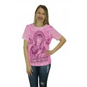 Camiseta Religiosa Feminina Nossa Senhora do Perpétuo Socorro Rosa - Frui Vita REF.: CF-082