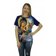Camiseta Religiosa Feminina Nossa Senhora do Perpétuo Socorro Azul - Frui Vita REF: CF-100