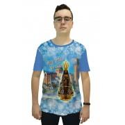 Camiseta Religiosa Masculina Nossa Senhora Aparecida Azul - Frui Vita REF: CF-108