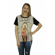 Camiseta Religiosa Feminina Nossa Senhora do Carmo Preto - Frui Vita REF: CF-126