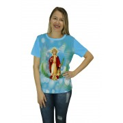 Camiseta Religiosa Feminina Santa Barbara Azul - Frui Vita REF: CF-044