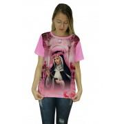 Camiseta Religiosa Feminina Santa Rosa de Lima Rosa - Frui Vita REF: CF-041