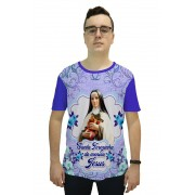 Camiseta Religiosa Masculina Santa Teresinha do Menino Jesus Roxo - Frui VIta REF: CF-075