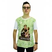 Camiseta Religiosa Masculina Santo Antônio de Pádua Verde Claro - Frui VIta REF: CF-115