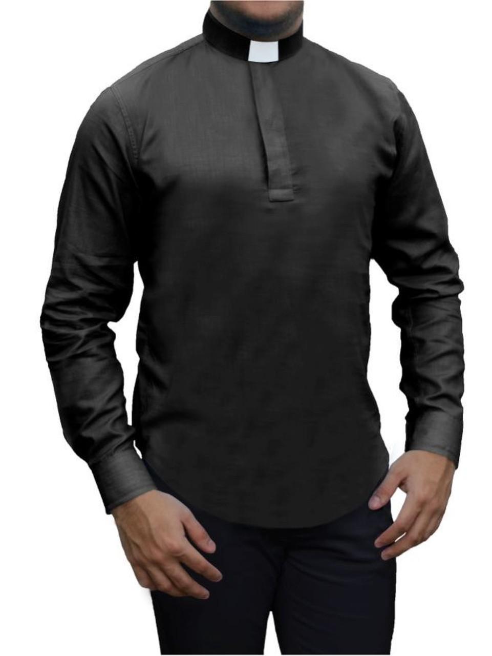 Camisa Para Padre Bata Clerical Slim Fit Manga Longa Tecido Algodão - REF.: 236