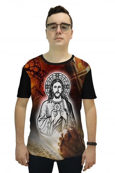 Camiseta Religiosa Masculina Cristo Eucarístico Preto - Frui Vita REF: CF-123