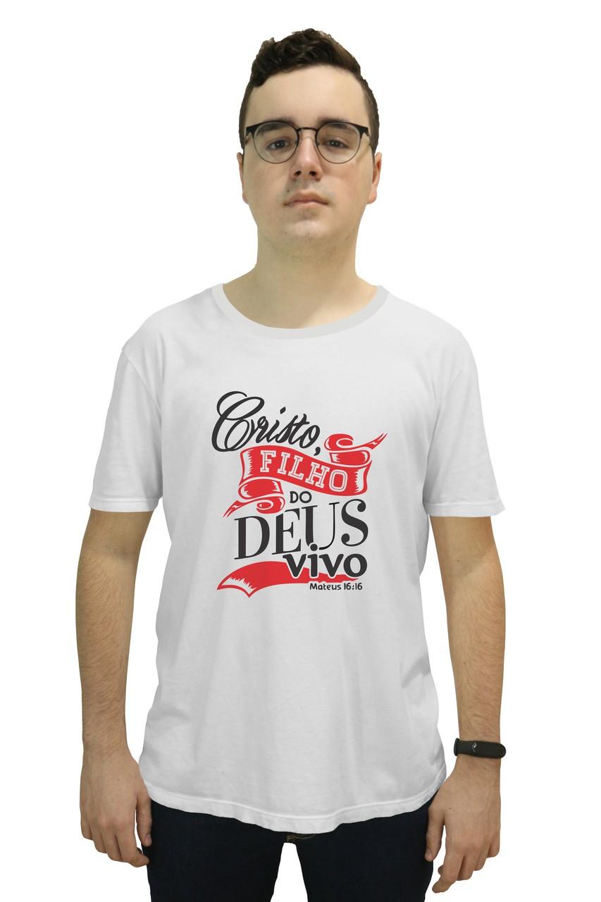 Camiseta Religiosa Masculina Cristo Filho do Deus Vivo Branco - Frui Vita REF: CF-106