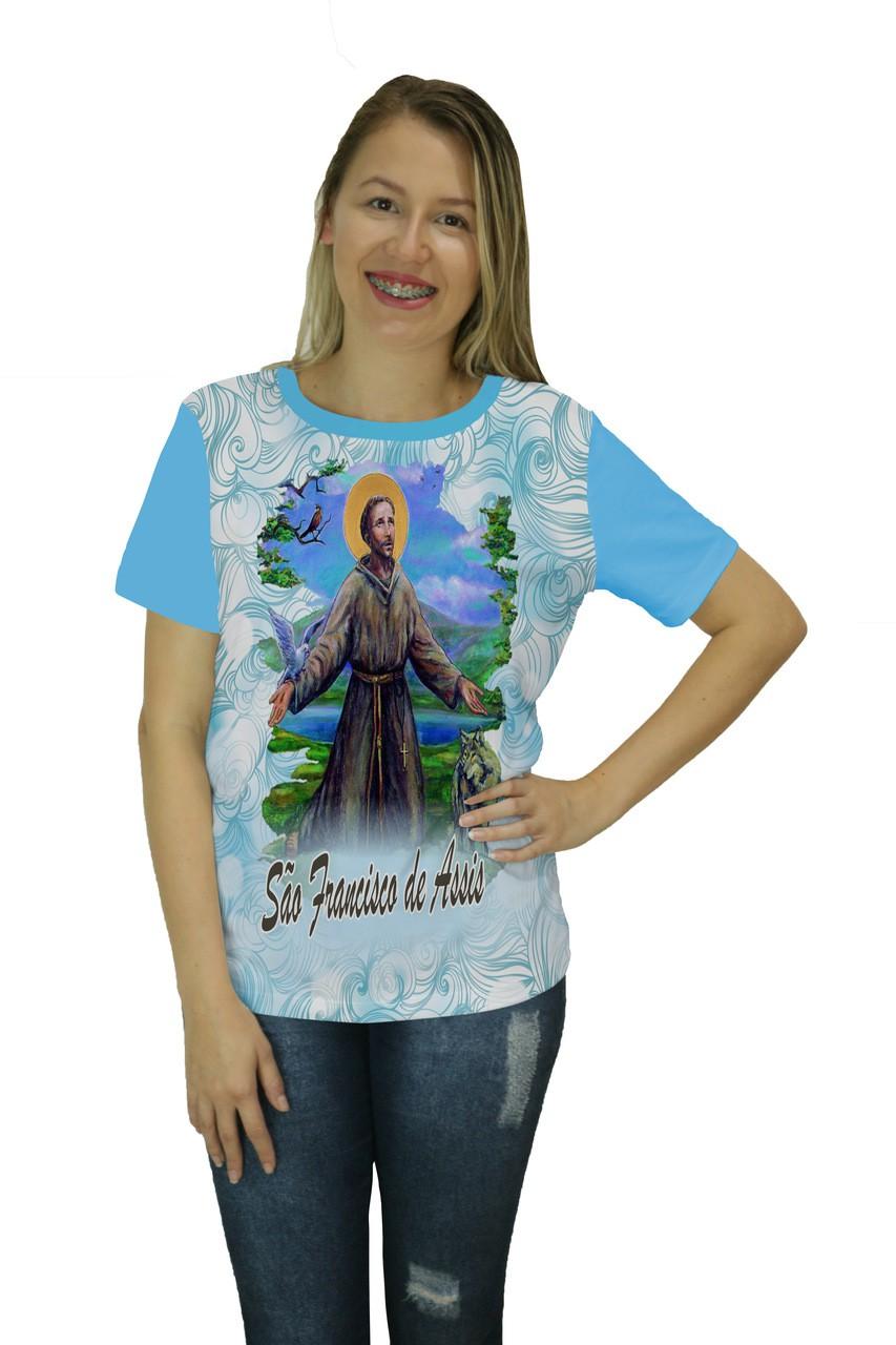 Camiseta Religiosa Feminina São Francisco de Assis Azul - Frui Vita REF: CF-140