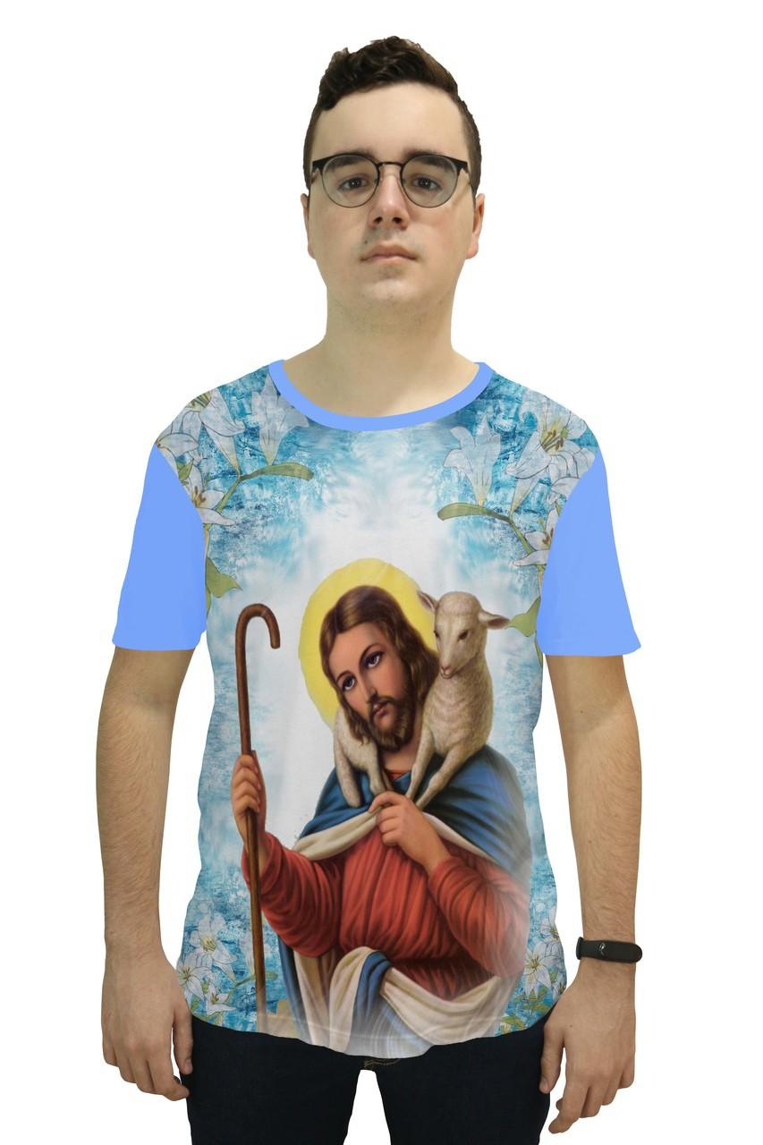 Camiseta Religiosa Masculina Jesus Bom Pastor Azul - Frui Vita REF: CF-129