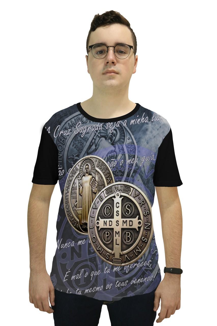 Camiseta Religiosa  Masculina Medalha de São Bento Bronze Preto - Frui Vita REF: F-018