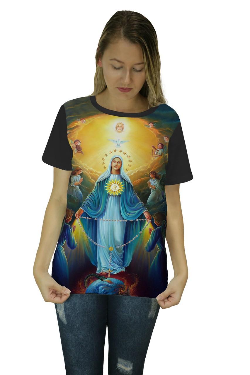 Camiseta Religiosa Feminina Nossa Senhora Preto - Frui Vita REF: CF-043