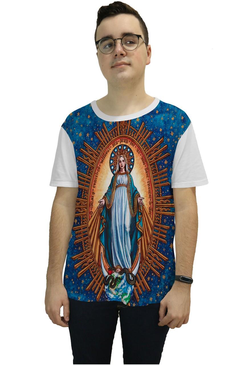 Camiseta Religiosa Masculina Nossa Senhora da Conceição Branco - Frui Vita REF: CF-CNSC