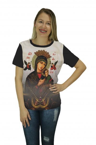 Camiseta Religiosa Feminina Nossa Senhora do Perpétuo Socorro Preto - Frui Vita REF: CF-119