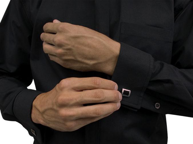 Camisa Para Padre Abotoadura Gola Romana Manga Longa Tecido Passa Fácil - REF.: 214