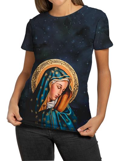Camiseta Feminina  Nossa Senhora das Dores Preto - FruiVita