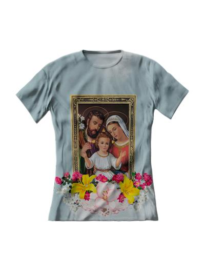 Camiseta Feminina Sagrada Família Azul Claro - FruiVita