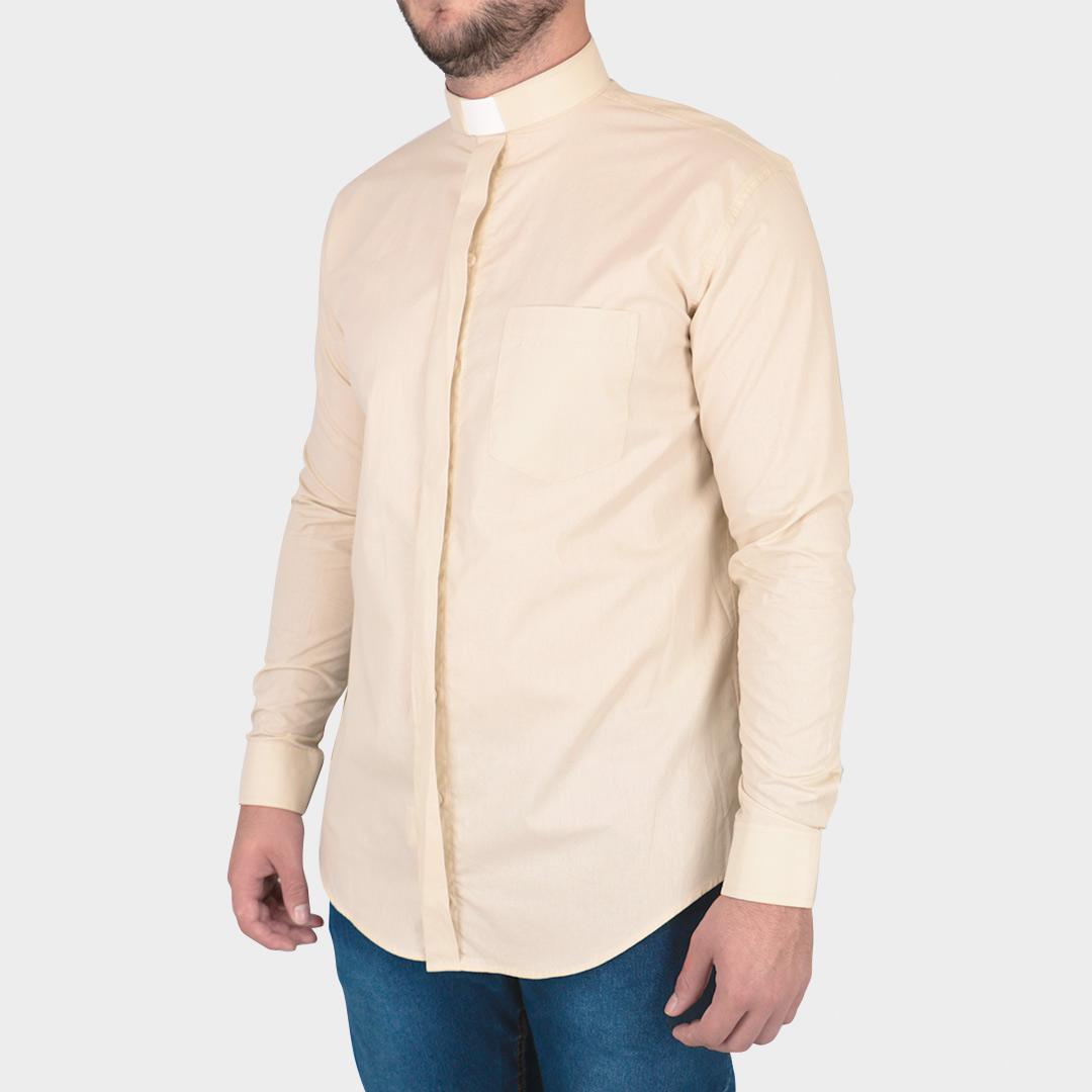 Camisa Para Padre Clerical Manga Longa Tecido Passa Fácil - REF.:204