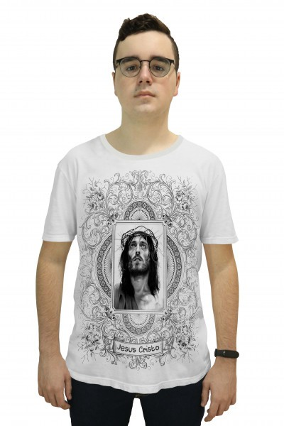 Camiseta Religiosa Masculina  Jesus Cristo Branco - Frui Vita REF: CF-125