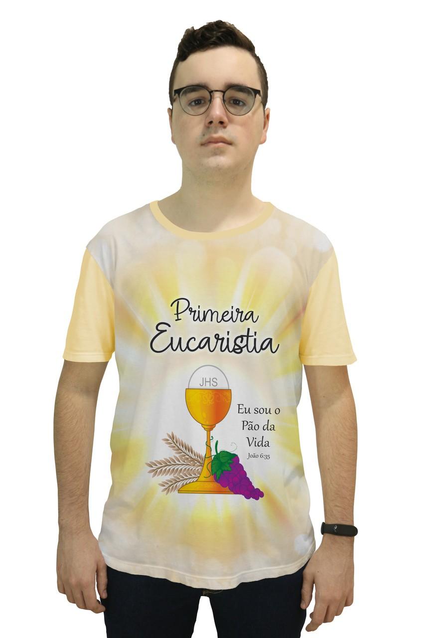 Camiseta Religiosa Masculina Primeira Eucaristia Bege Claro - Frui VIta REF.: CF-137