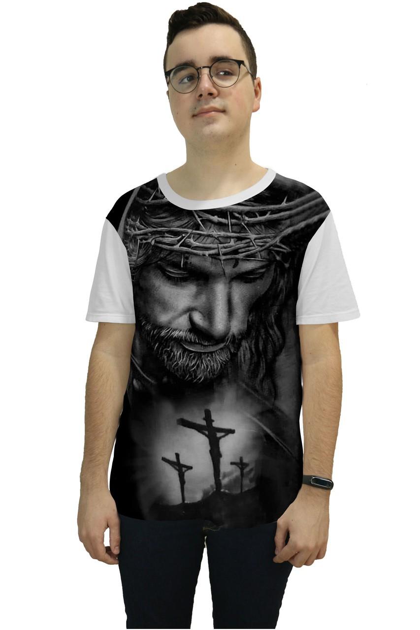 Camiseta Religiosa Masculina Rosto de Cristo Branco - Frui VIta REF: CF-010