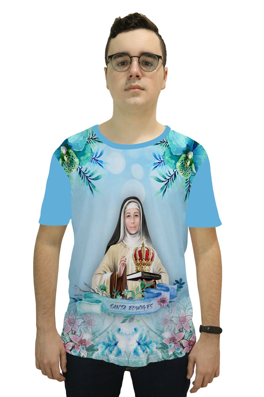 Camiseta Religiosa Masculina Santa Edwiges Azul - Frui VIta REF: CF-135
