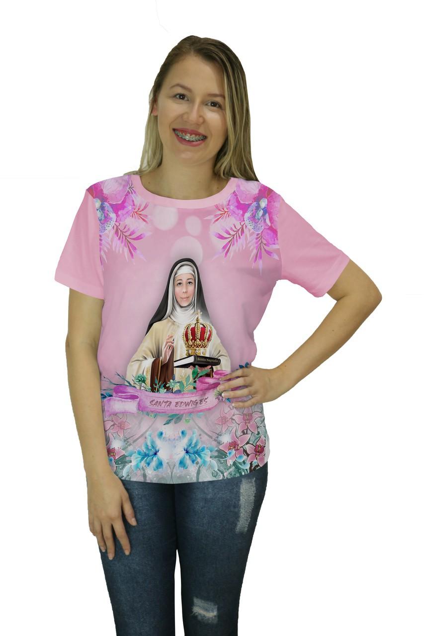 Camiseta Religiosa Feminina Santa Edwiges Rosa - Frui Vita REF: CF-135