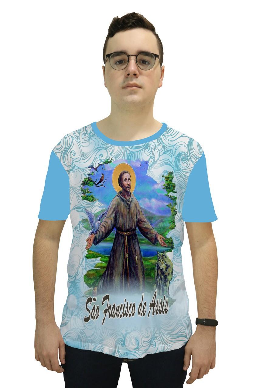 Camiseta Religiosa Masculina São Francisco de Assis Azul - Frui Vita REF: CF-140