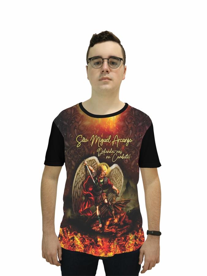 Camiseta Religiosa Masculina São Miguel Arcanjo Preto - Frui VIta REF: CF-122