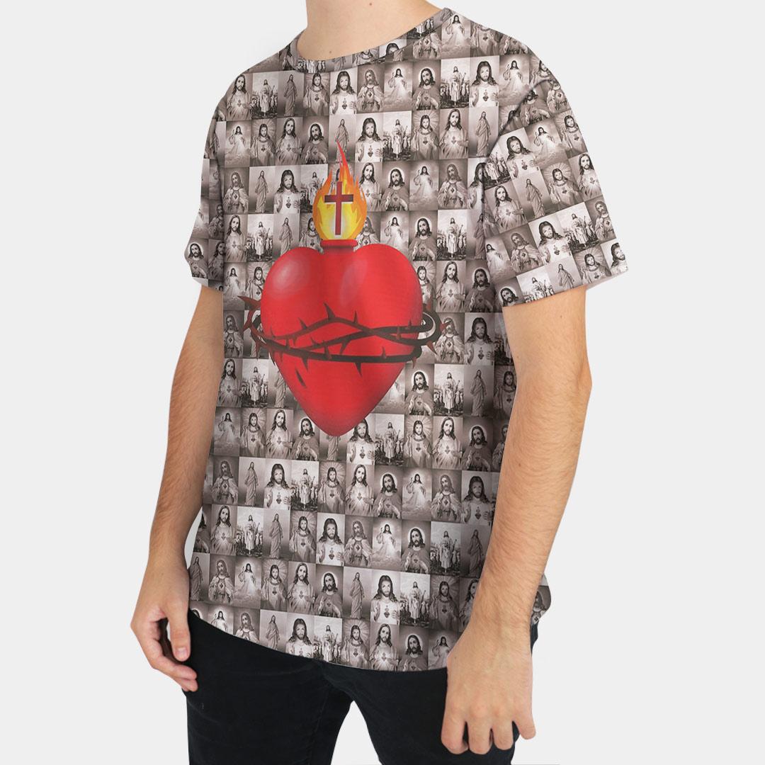 Camiseta Masculina Sagrado Coração de Jesus Cinza - FruiVita
