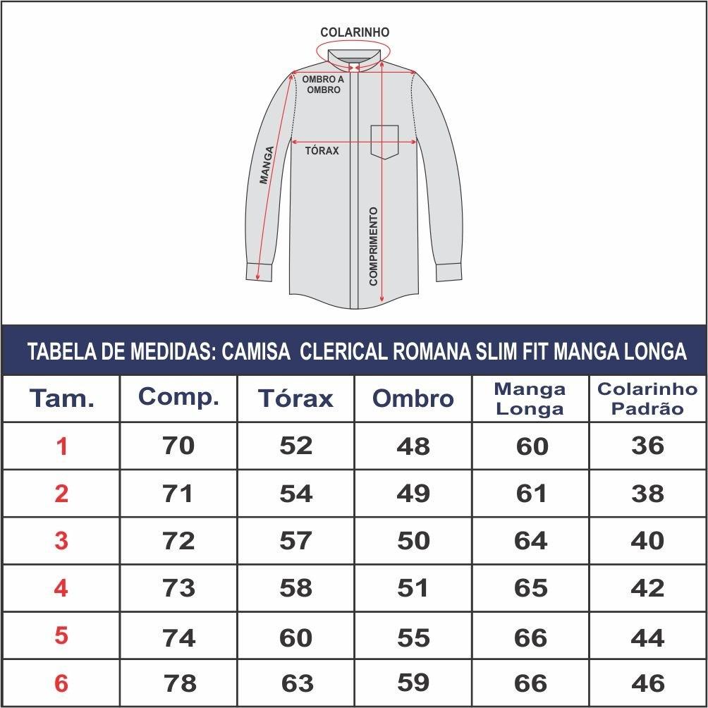 Camisa Para Padre Slim Fit Romana Manga Longa Algodão - REF.: 233