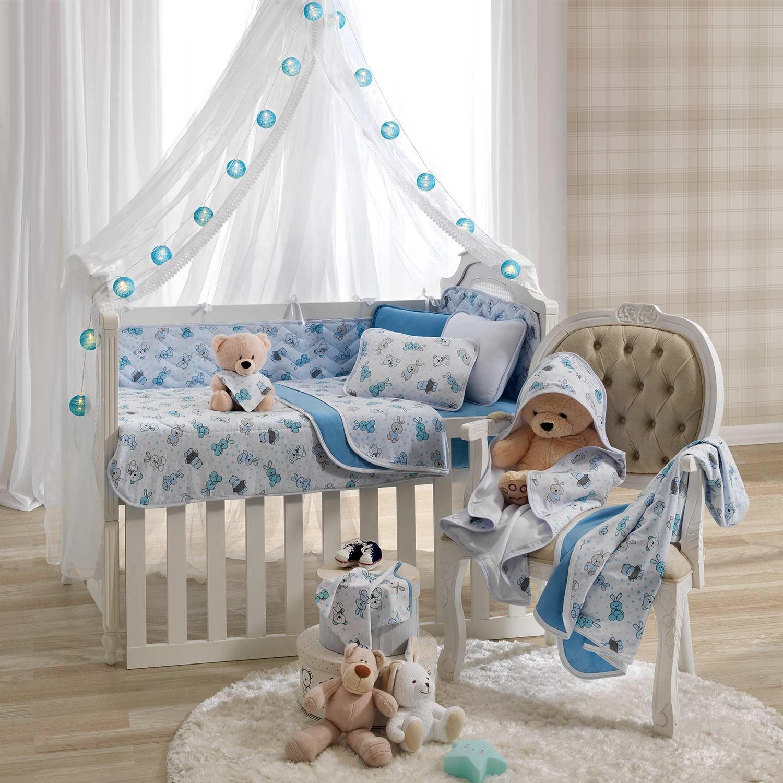 Kit 3 peças Protetor de Berço Vivaldi Baby Bichinhos Azul Ref: 66.01.0022/3358