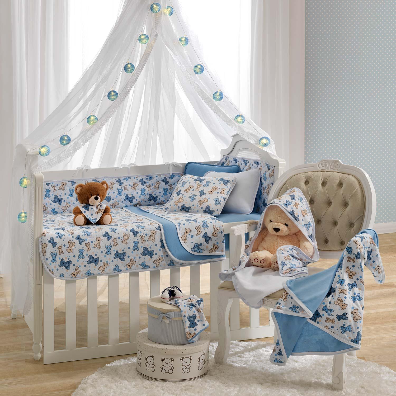 Kit 3 peças Protetor de Berço Vivaldi Baby Urso Azul Ref: 66.01.0022/3120