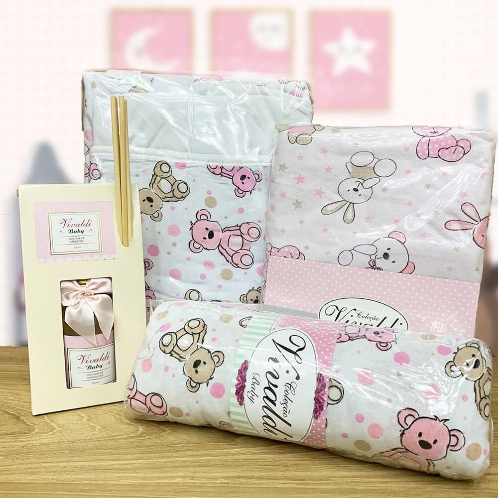 Kit Baby Menina Urso Rosa