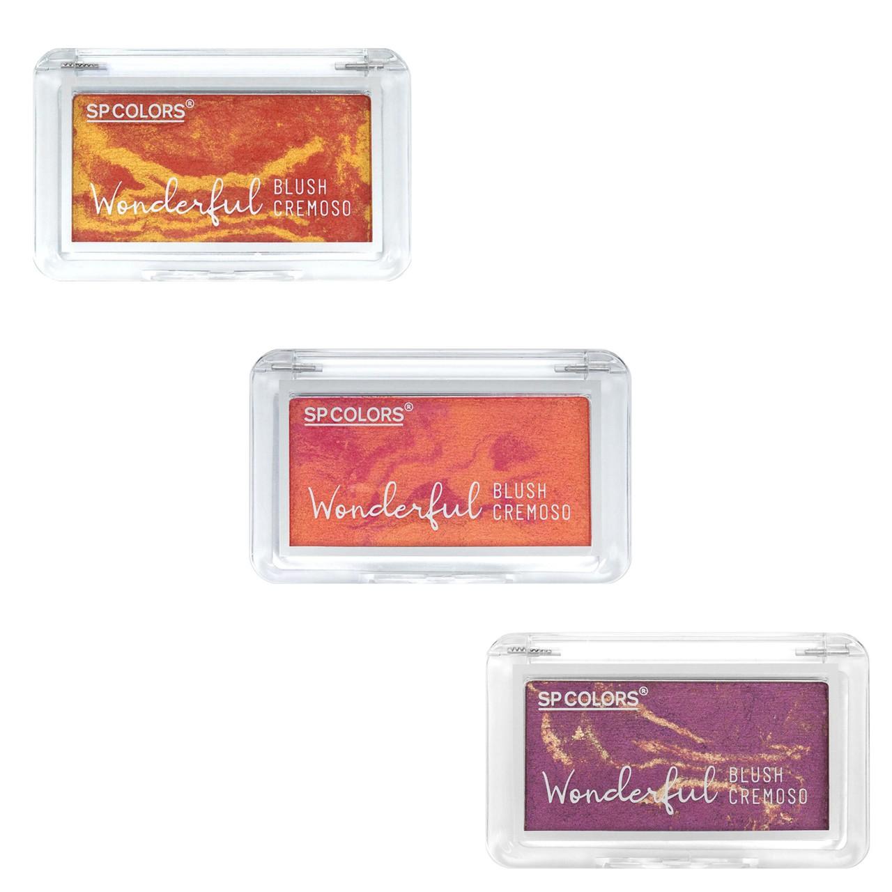 Blush Cremoso SP Colors Wonderful SP212 Lançamento - Kit c/ 3 unidades