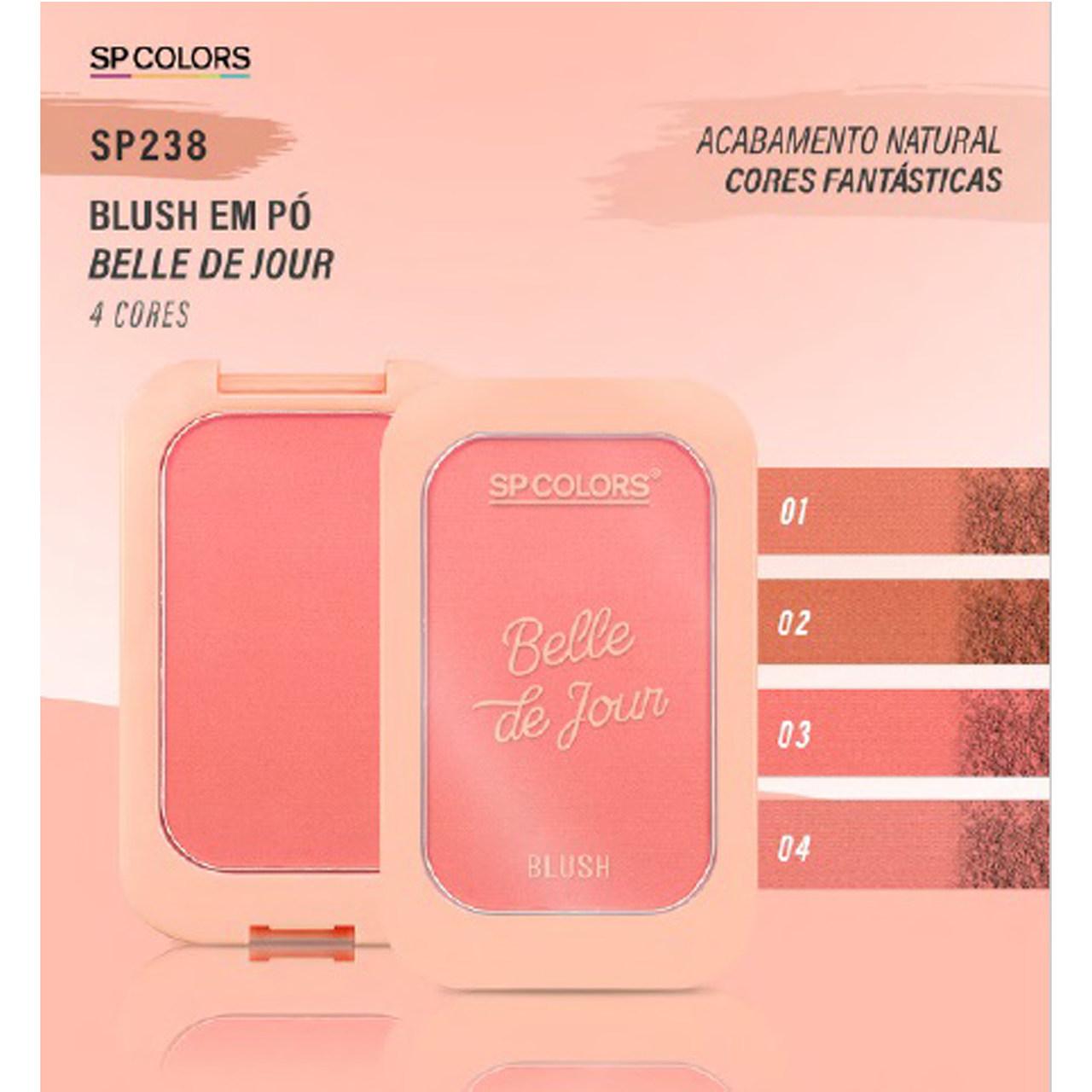 Blush em Pó Acabamento Natural Belle de Jour 4 cores SP Colors