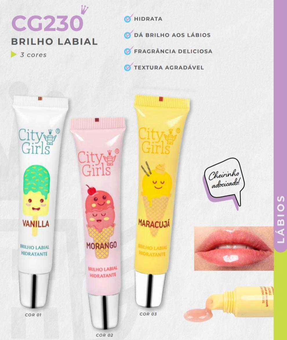 Brilho Labial Hidratante 3 Aromas Lançamento City Girls
