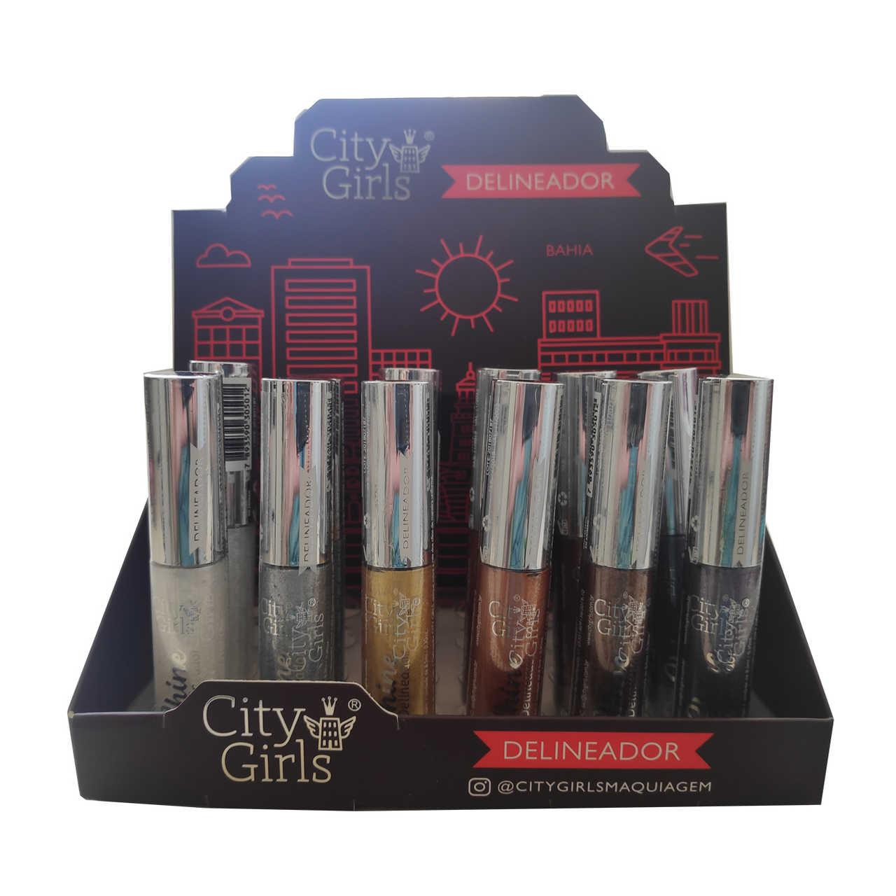 Delineador Shine City Girls - Display com 24 unidades - CG187 Atacado