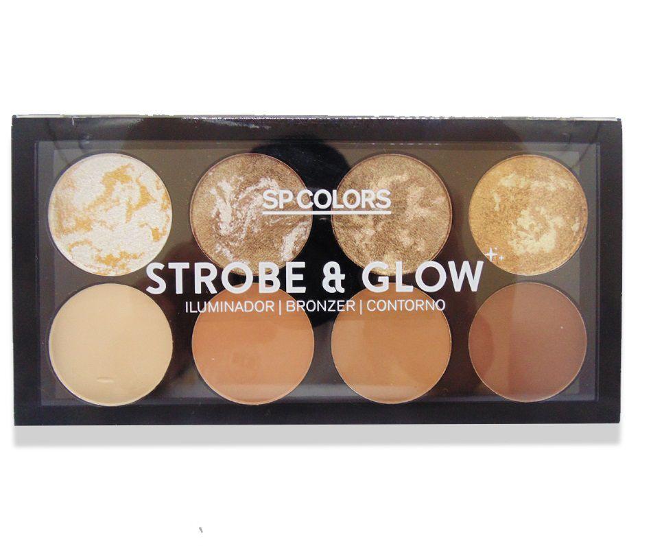 Paleta de Iluminador Bronzer Contorno SpColors Strobe & Glow