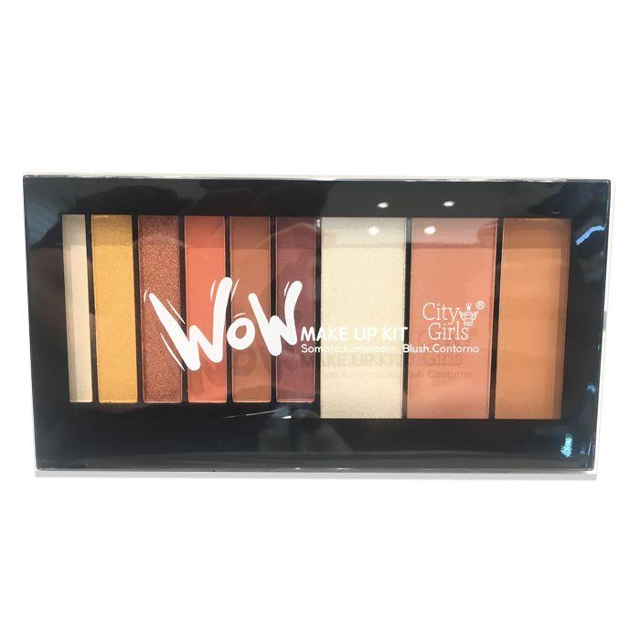 Paleta de Sombra + Iluminador + Blush + Contorno City Girls Wow Make Up Kit