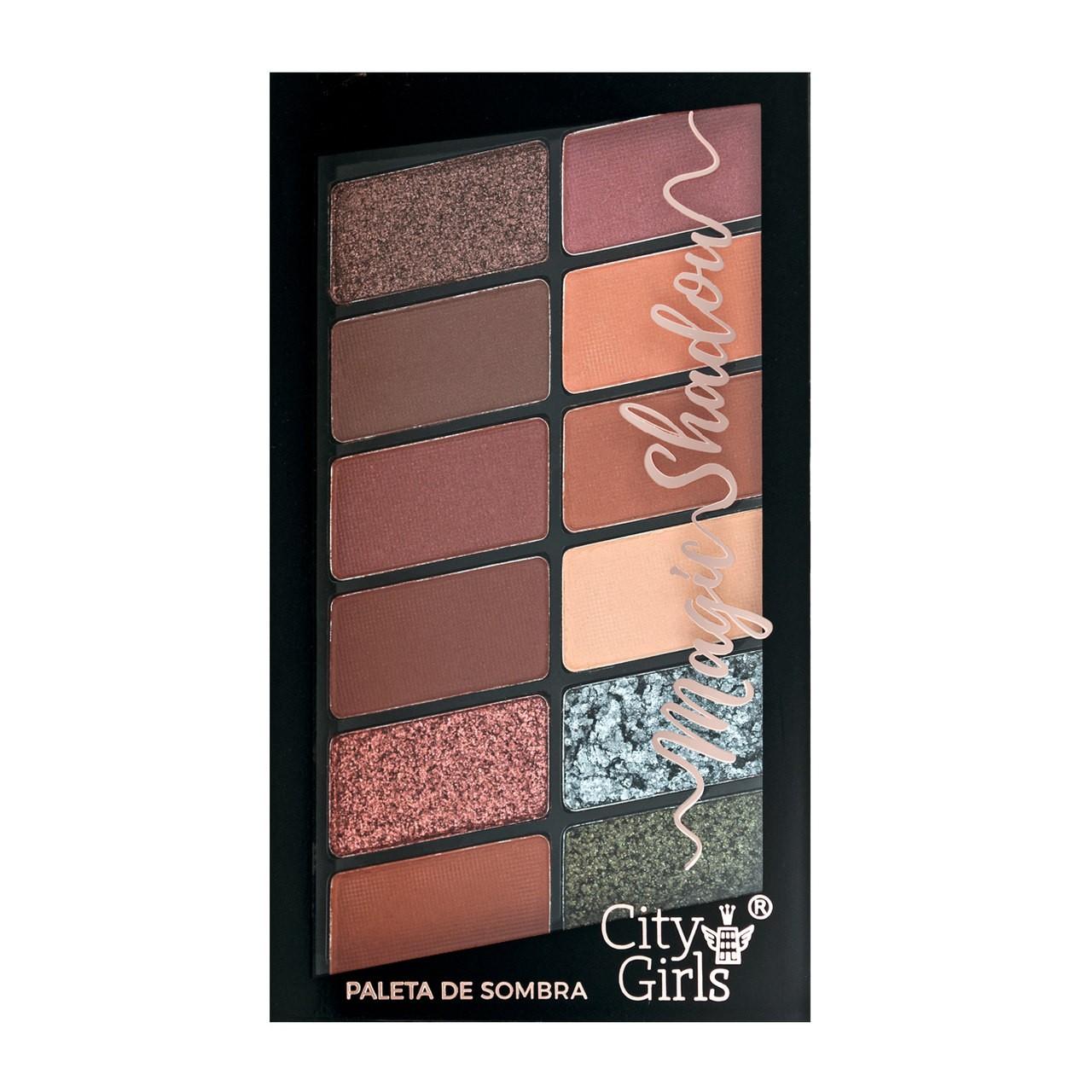 Paleta de Sombras 12 Cores City Girls Magic Shadow