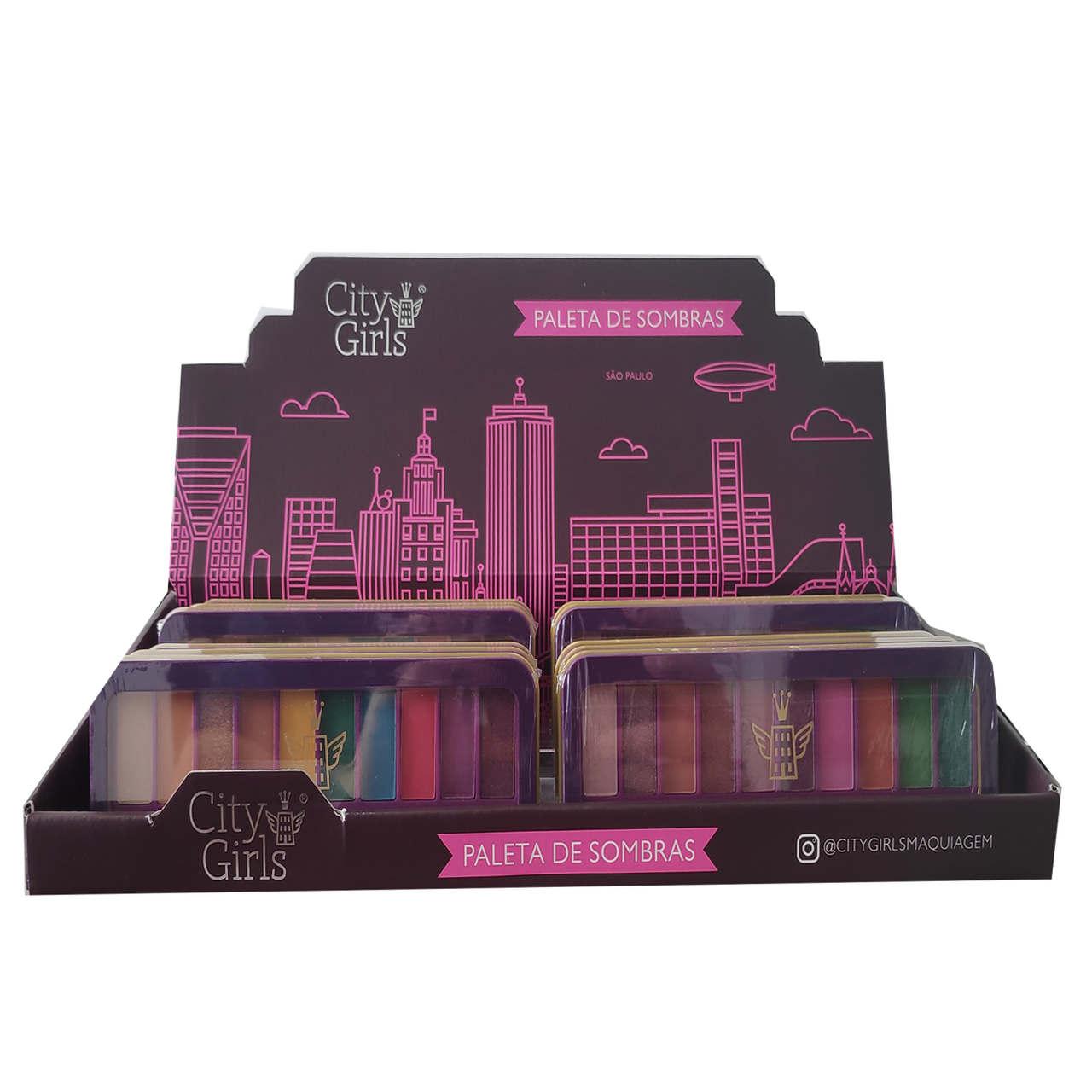Paleta de Sombras Charming Collection City Girls - Display com 12 unidades - CG205 Atacado