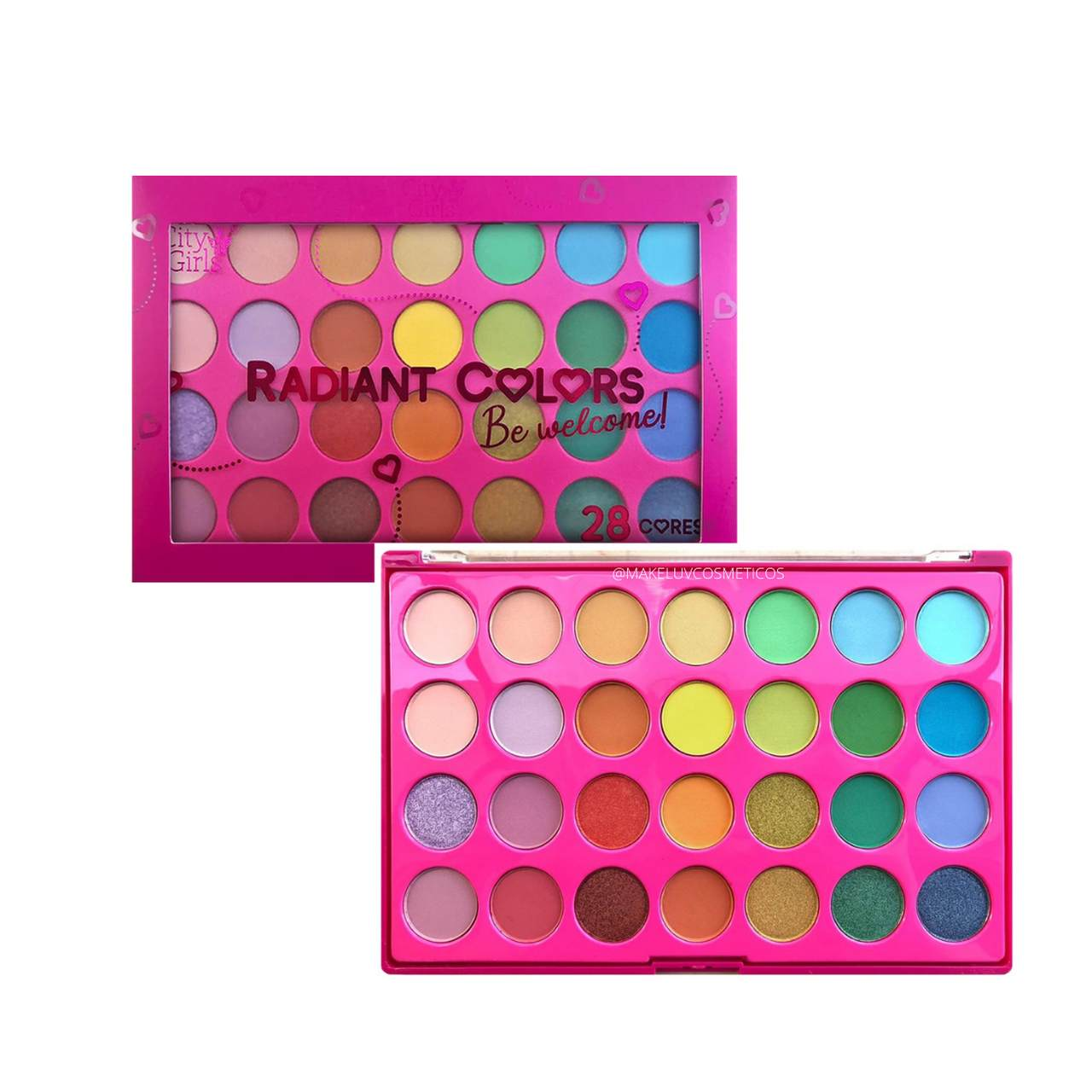 Paleta de Sombras City Girls Radiant Colors 28 cores