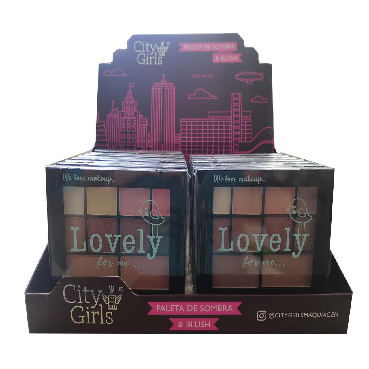 Paleta de Sombras e Blush Lovely For Me City Girls - Display com 18 unidades - CG159 Atacado