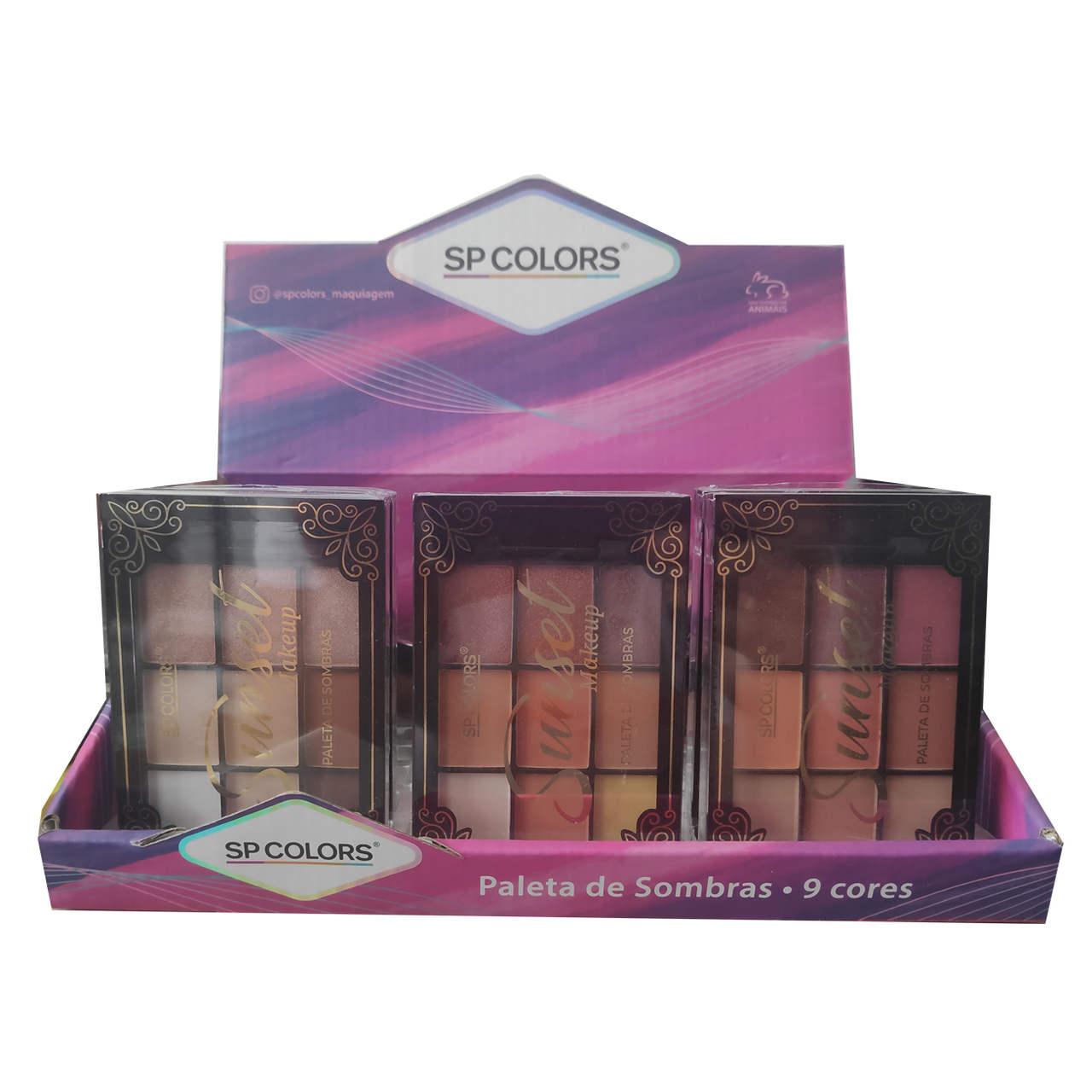 Paleta de Sombras Sunset Makeup Sp Colors - Display com 24 unidades - SP154 Atacado