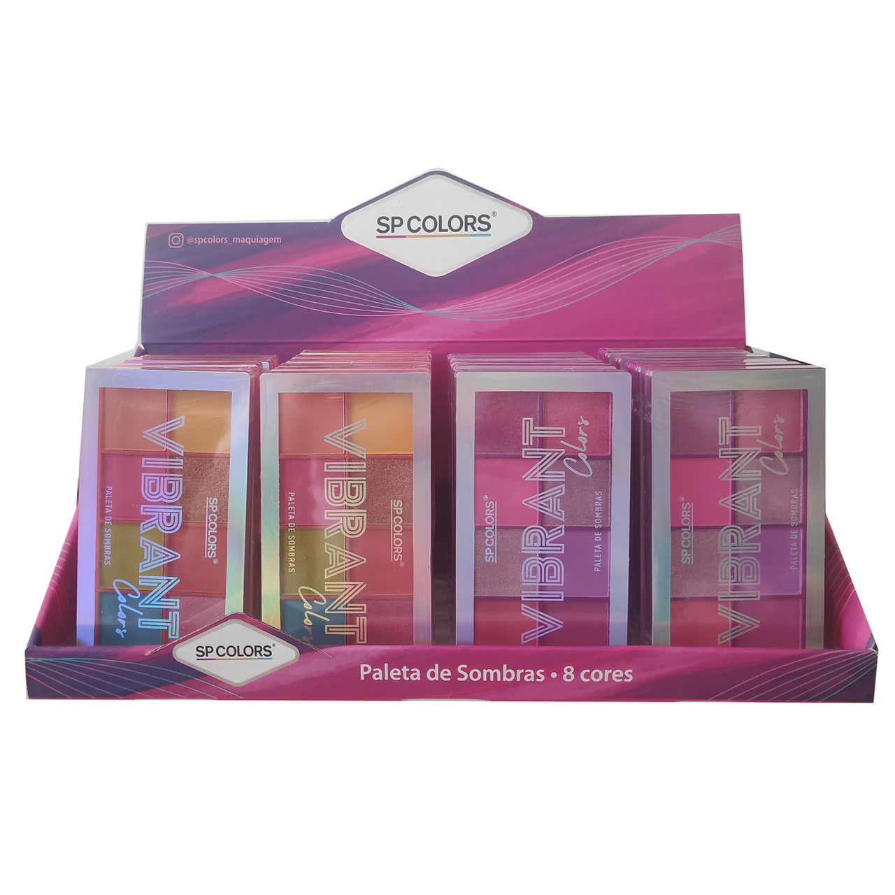 Paleta de Sombras Vibrant Colors SP Colors - Display com 24 unidades - SP172 Atacado