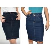 02 Saias Jeans Combo Premium Clássicas Reta com elastano
