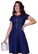 Vestido Evasê Jeans com Zíper Frontal - Azul Escuro